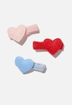 Cotton On - Hair clip- pink red felt hearts - pink red hearts