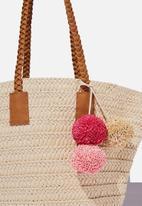 Cotton On - Beach basket bag - natural pom pom