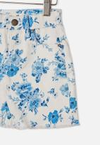 Cotton On - Finn denim skirt - white & rosie floral