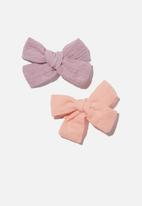 Cotton On - Big bow clips - cheesecloth - pink & vintage lilac