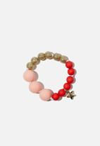Cotton On - Mixed beaded bracelet with metal charm - jolly red & pink