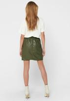 ONLY - Pu paper bag skirt - olive
