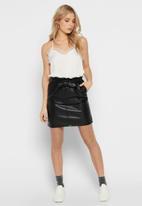 ONLY - Pu paper bag skirt - black