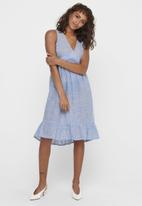 ONLY - Margaery life sleeveless stripe denim dress - blue