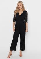 ONLY - Edith 3/4 wrap jumpsuit - black