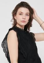 ONLY - Karo sleeveless lace top wvn - black
