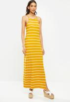 ONLY - May life sleeveless maxi dress - yellow & white