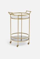 SF Collection - Round smokey drinks trolley - gold