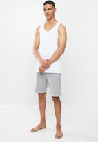 Superbalist - Premium cotton slub vest & knit shorts sleep set - white & grey