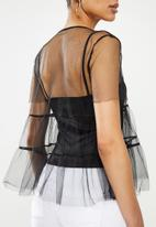 MILLA - Tulle tiered top - black