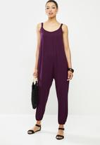 edit - Oversized knit jumpsuit - plum