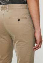 Jonathan D - Stretch cotton trousers with front pleats and side entry pockets - tan