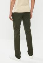 Jonathan D - Stretch cotton trouser with side entry pockets - dark olive