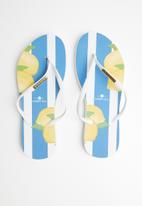 Samba Sol - Capri lemon flip flop - white & blue
