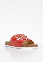 Jada - Double buckle strap slide - red
