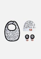 Nike - Jdi hat/bib/bootie 3 piece set - white & black