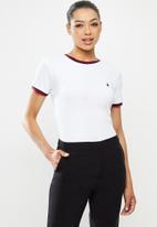 POLO - Jasmine short sleeve ribbed stretch tee - white