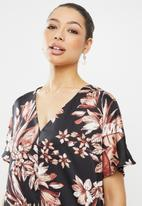 edit - Printed slit midi tunic dress - black & maroon floral