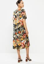 edit - Printed slit midi tunic dress - multi tropical print