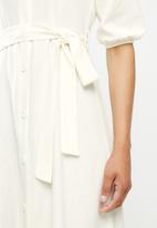 edit - Linen viscose square neck button down dress - milk