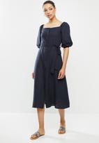 edit - Linen viscose square neck button down dress - navy
