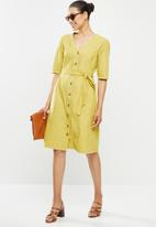 edit - Cotton button through belted midi dress - ochre yellow