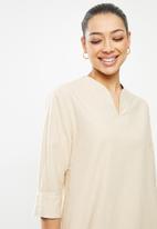 edit - Dolman cotton tunic dress - stone