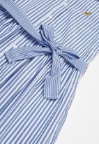 POLO - Girls isla pattern blocked striped dress - blue