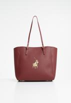 POLO - Synthetic gold pony lyon tote - burgundy