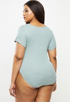 Lizzy - Plus caitie styled bodysuit - slate blue