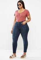 Lizzy - Plus caitie styled bodysuit - garnet rose