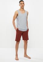 Superbalist - Premium cotton slub vest & knit shorts sleep set - grey & burgundy