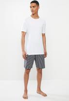 Superbalist - Scoop neck tee & woven shorts sleep set - white & navy