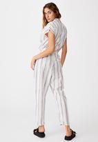 Cotton On - Woven Jasmine utility jumpsuit - white & black