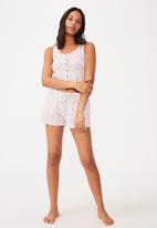 Cotton On - Waffle bed time tank - white & red