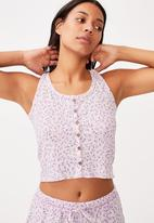 Cotton On - Waffle bed time tank - lilac