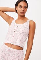 Cotton On - Waffle bed time tank - peach