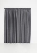 Sixth Floor - Slub lined taped curtain - charcoal