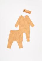 Cotton On - Bundle romper, legging & tie headband - orange