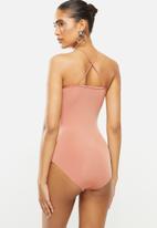 Blake - Halter neck bon bon bodysuit - pink