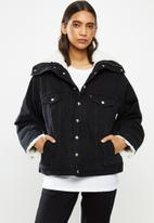 Levi's® - Dad sherpa parka black book trucker - black