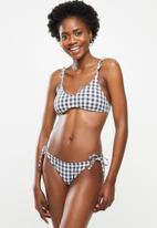 Cotton On - Gathered tie brazilian bikini bottom - iron gingham