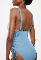 Cotton On - Scoop neck side tie one piece full rib - bluestone rib