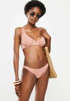 Cotton On - Half wire bralette bikini top -terracotta daisy shirred v