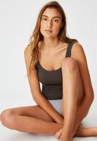 Cotton On - Scoop rib tank - charcoal