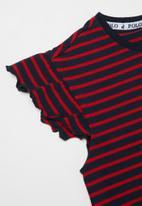 POLO - Girls harper striped dress - red & navy