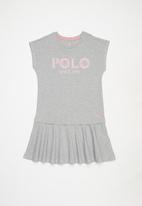 POLO - Girls wendy printed dress - grey & pink