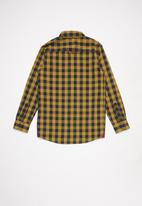 POLO - Boys denis long sleeve checked shirt - camel & navy