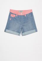 POLO - Girls anna colour blocked denim short - blue & pink