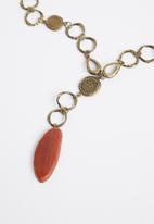 Superbalist - Spencer pendant necklace - gold & orange
